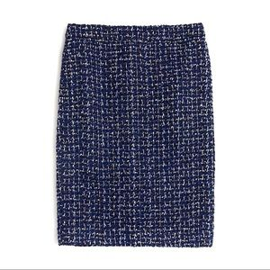 J. Crew No. 2 Pencil Skirt in Navy Blue Tweed 6